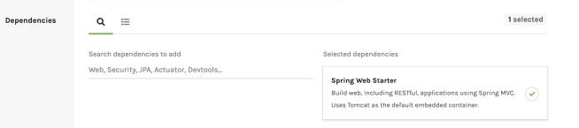 Spring Initializr Dependencies Web Starter
